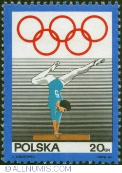 Image #1 of 20 Groszy 1969 - Olympic Rings and Woman gymnast