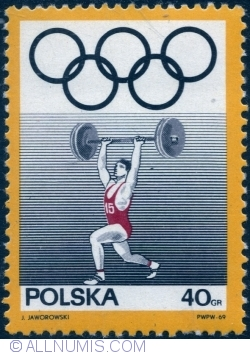 Image #1 of 40 Groszy 1969 - Olympic Rings and Weight lifting