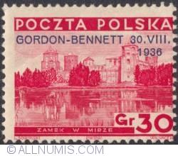 Image #1 of 30 Groszy 1936 - Castle in Mira (overprinted in blue )