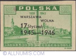 3,50 Zloty 1945 - City Hall. (Overprinted in Black)