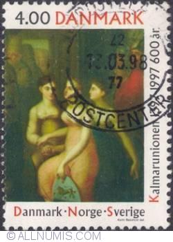 Image #1 of 4 kroner 1997 - The Three Graces symbolizing Denmark, Norway ans Sweden