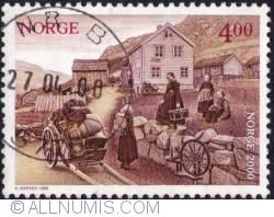 Imaginea #1 a 4 Kroner 1999 - Family leaving Sejestad Station, emigration period, 1800's.
