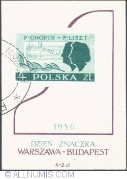 4+2 złote - Fryderyk Chopin and Ferenc Liszt (Day of Stamp)
