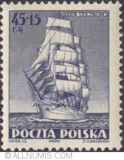 """Image #1 of 45+15 groszy 1952 - """"Dar Pomorza"""""""