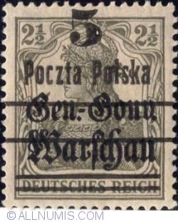 Image #1 of 5 Fenigow on 2½ Pfennig 1919 - Germania -overprint