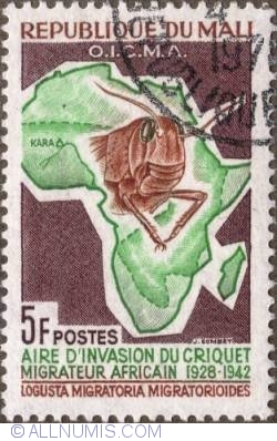 Image #1 of 5 Francs 1964 - Head of locust and map of Africa