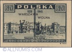 Image #1 of 6 Zlotych 1946 - Post Office (Overprinted in Black)