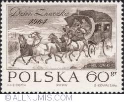 Image #1 of 60 groszy 1964 - Stagecoach by Józef Brodowski