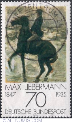 70 Pfennig - Rider to the left at the beach by Max Liebermann 1978