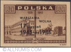 8 Zlotych 1946 - Army General Staff Headquarters.(Overprinted in Black)
