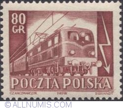 Imaginea #1 a 80 groszy 1953 -  Electric locomotive and cars.
