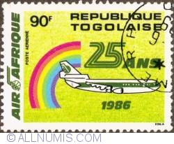 Image #1 of 90 Francs 1986 - Air Africa 25th anniv.(Air mail)