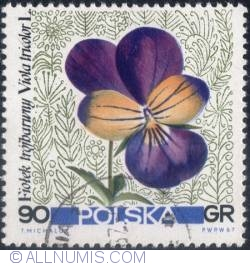 Image #1 of 90 groszy 1967 -Pansy. (Viola tricolor)