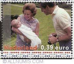 Image #1 of 0,39 Euro 2003 - Princess Beatrix, Prince Claus and Prince Willem-Alexander (1967)