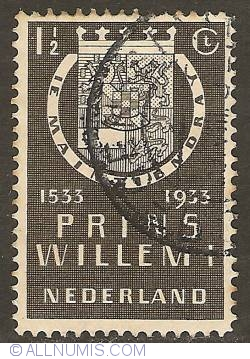 1 1/2 Cent 1933 - Shield of William I of Orange