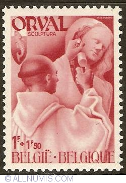 Image #1 of 1 + 1,50 Francs 1941 - Orval Abbey - Monks - Sculpture