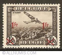 Image #1 of 1 Franc 1935 - Airmail - Plane above St. Hubert - overprint on 1,50 Francs