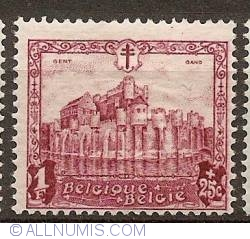 Image #1 of 1 Franc + 25 Centimes 1930 - Counts Castle in Ghent
