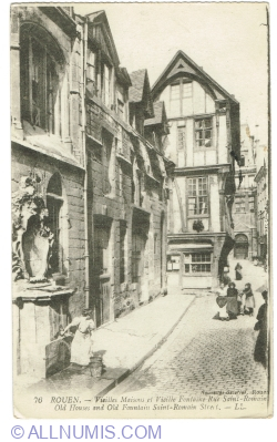 Image #1 of Rouen - Old Houses and Fountain in Saint-Romain Street (1919)