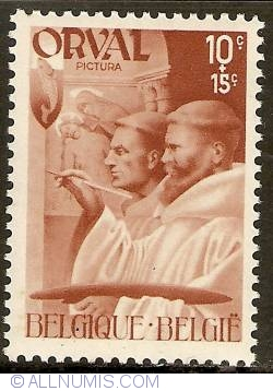 Image #1 of 10 + 15 Centimes 1941 - Orval Abbey - Monks - Painting