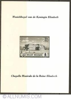 Image #1 of 10 + 15 Francs 1941 - Queen Elisabeth Music Chapel Souvenir Sheet - without perforation