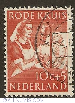Image #1 of 10 + 5 Cent 1953 - Nurse giving a blood transfusion