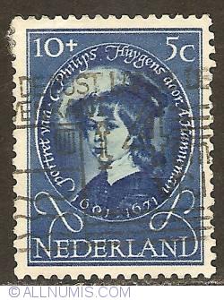 10 + 5 Cent 1955 - Adriaen Hanneman - Portrait of C. Philips Huygens