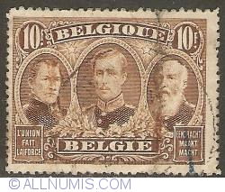Image #1 of 10 Francs 1915 - King Leopold I, Leopold II and Albert I