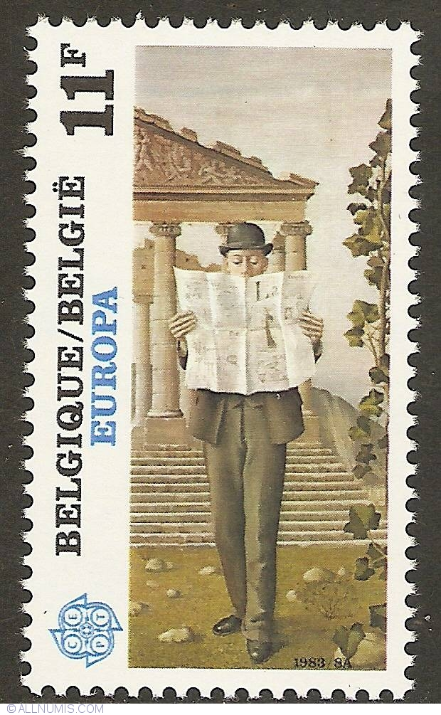 11 francs 1983 paul delvaux l 39 homme de la rue art painting belgium stamp 17467. Black Bedroom Furniture Sets. Home Design Ideas