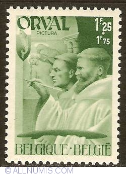 Image #1 of 1,25 + 1,75 Francs 1941 - Orval Abbey - Monks - Painting