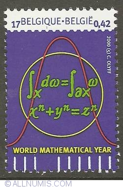 Image #1 of 17 Francs / 0,42 Euro 2000 - World Mathematical Year