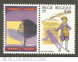 17 Francs / 0,42 Euro 2001 - Postman of the 18th Century (with publicity tab)