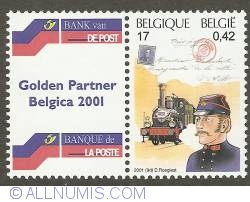 17 Francs / 0,42 Euro 2001 - Postman of the 19th Century (with publicity tab)
