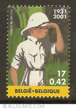 Image #1 of 17 Francs / 0.42 Euro 2001 - Tintin