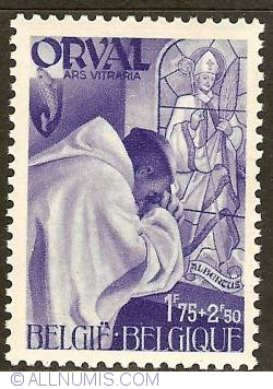 Image #1 of 1,75 + 2,50 Francs 1941 - Orval Abbey - Monks - Stained Glass