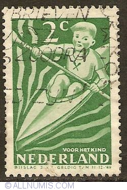 2 + 2 Cent 1948 - Boy canoeing