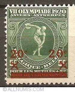 Imaginea #1 a 20 over 5 Centimes 1921 - Olympic Games Antwerp  - overprint