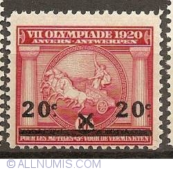 Imaginea #1 a 20 Centimes 1921 - Olympic Games Antwerp  - overprint