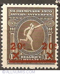 Imaginea #1 a 20 over 15 Centimes 1921 - Olympic Games Antwerp  - overprint