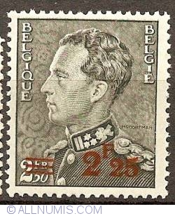 Image #1 of 2,25  over 2,50 Francs 1941 Leopold III overprint