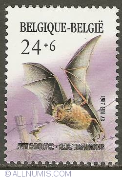 Image #1 of 24 + 6 Francs 1987 - Lesser Horseshoe Bat