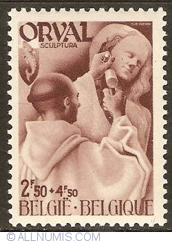 Image #1 of 2,50 + 4,50 Francs 1941 - Orval Abbey - Monks - Sculpture