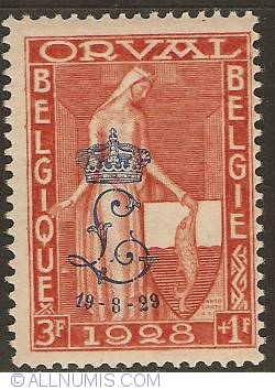"Image #1 of 3 + 1 Francs 1929 - Orval Abbey with overprint ""Crowned L"" - Legend of Orval"