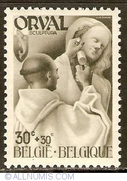 Image #1 of 30 + 30 Centimes 1941 - Orval Abbey - Monks - Sculpture