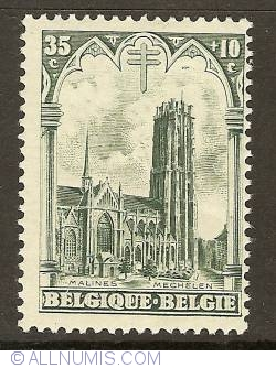 Image #1 of 35+10 Centimes 1928 - Cathedral St. Rombouts - Mechelen