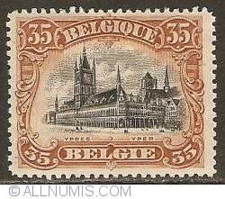 Image #1 of 35 Centimes 1915 - Cloth Hall of Ypres