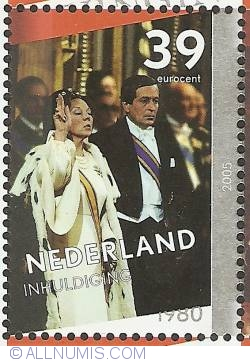 Image #1 of 39 Eurocent 2005 - Queen Beatrix Silver Jubilee - Investiture 1980 with Prince Claus