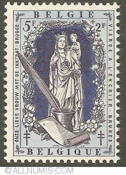 Image #1 of 5 + 2 Francs 1957 - Our Lady with the Ink Pot (Ghent)