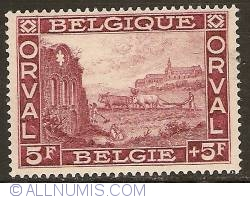 Image #1 of 5 + 5 Francs 1928 - Orval Abbey - Ruins of the Old Abbey
