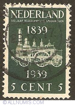 Image #1 of 5 Cent 1939 - Centennial of Dutch Railways